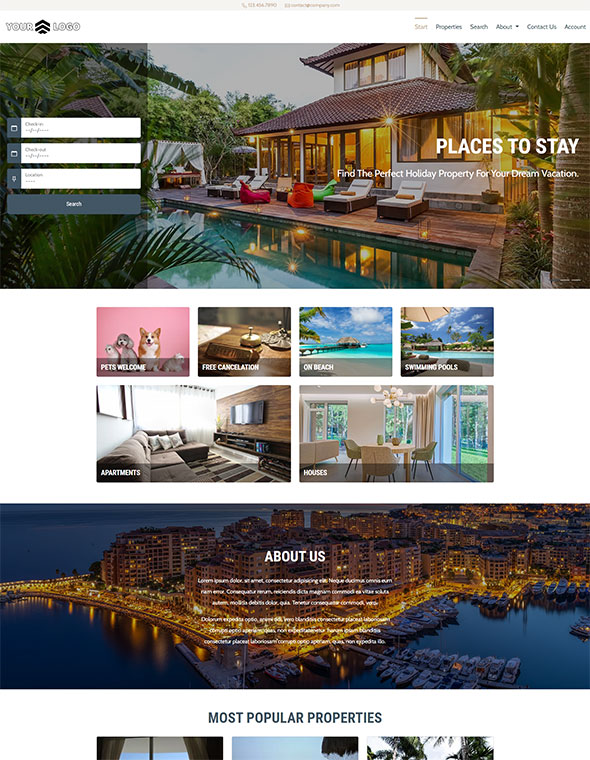 Vacation Rental Website Template #3