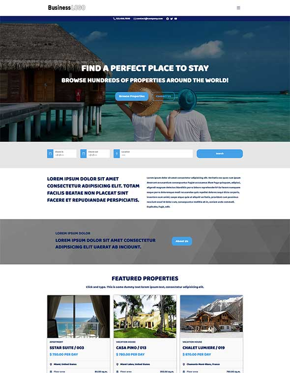 Vacation Rental Website Template #4