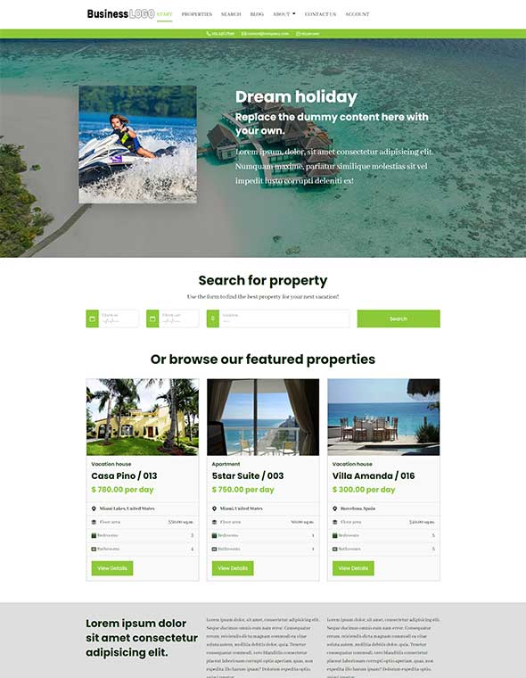 Vacation Rental Website Template #5