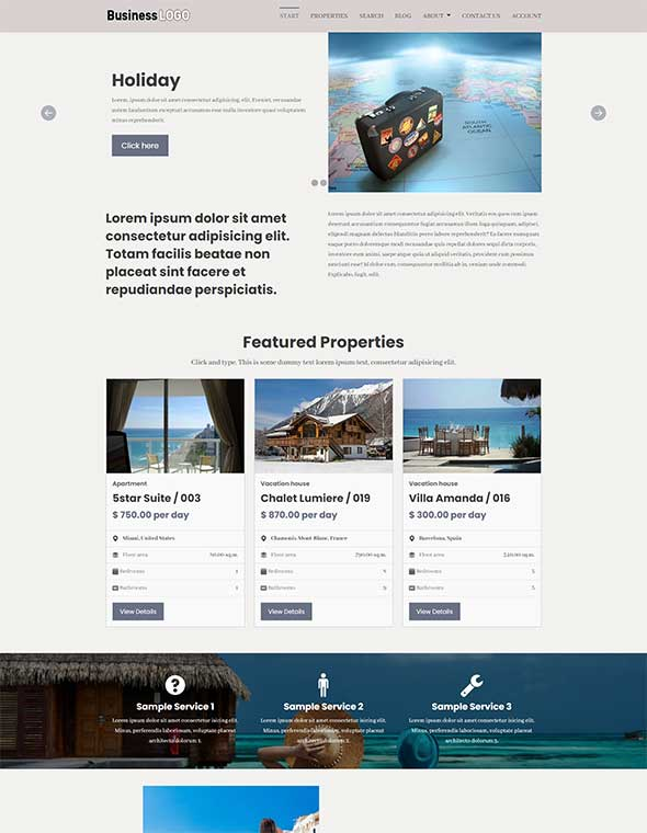 Vacation Rental Website Template #6