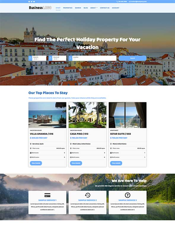 Vacation Rental Website Template #7