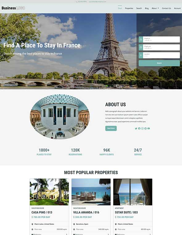 Vacation Rental Website Template #8