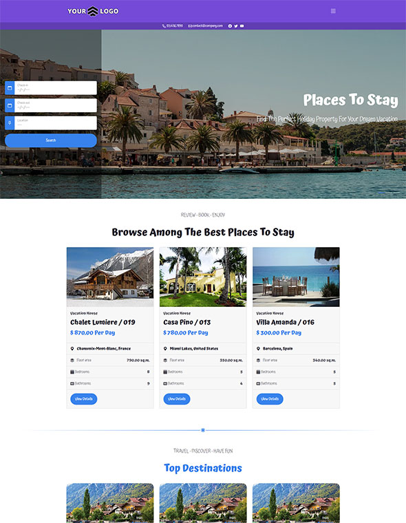 Vacation Rental Website Template #9
