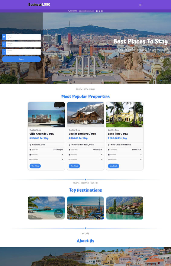 Vacation Rental Website 1