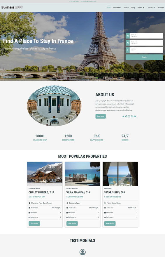 Vacation Rental Website 3