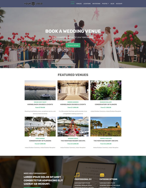 Venue Booking Website Template #1