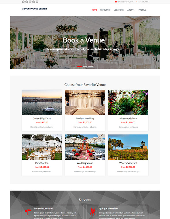 Venue Booking Website Template #10