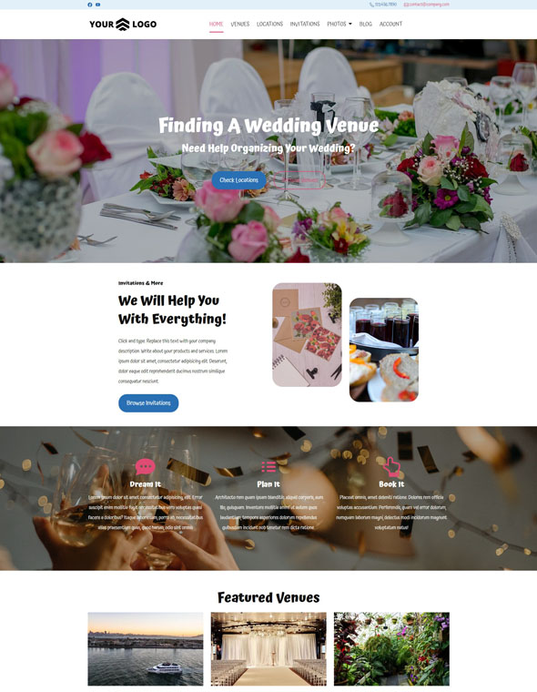 Venue Booking Website Template #2