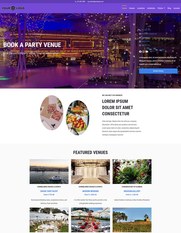 Venue Booking Website Template #3