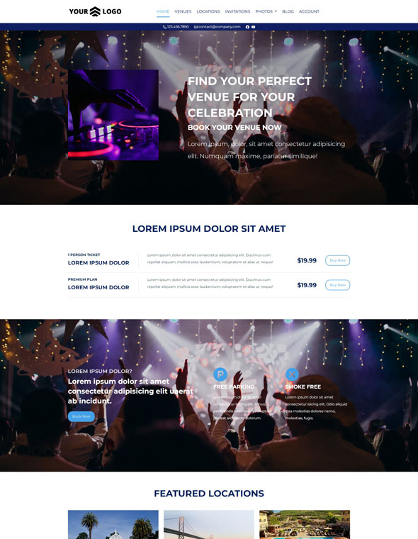 Venue Booking Website Template #4