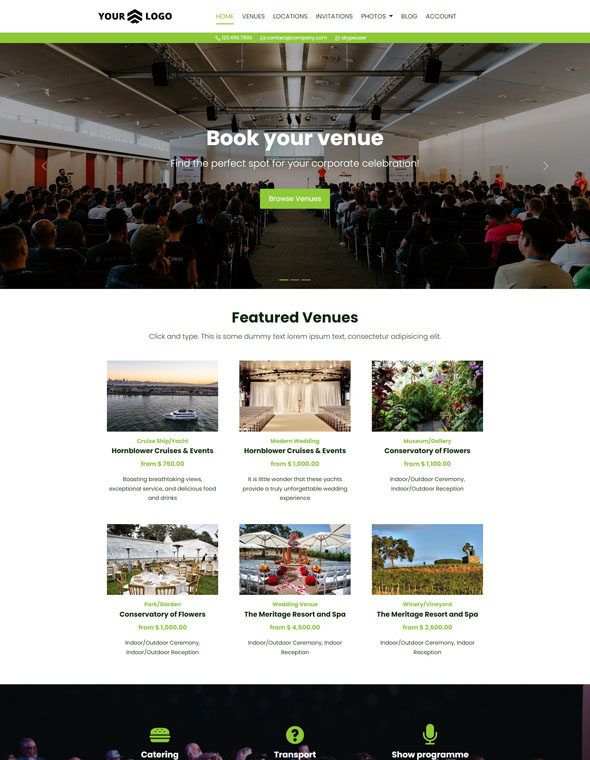 Venue Booking Website Template #5