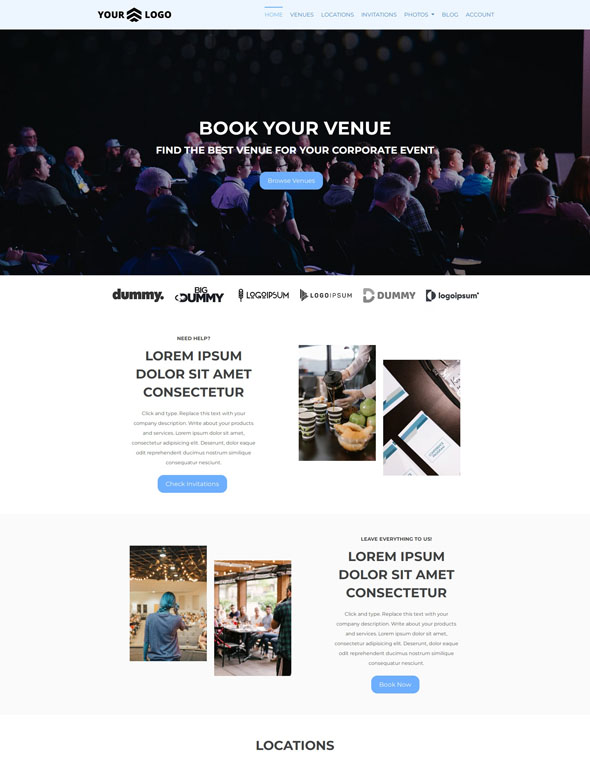 Venue Booking Website Template #6