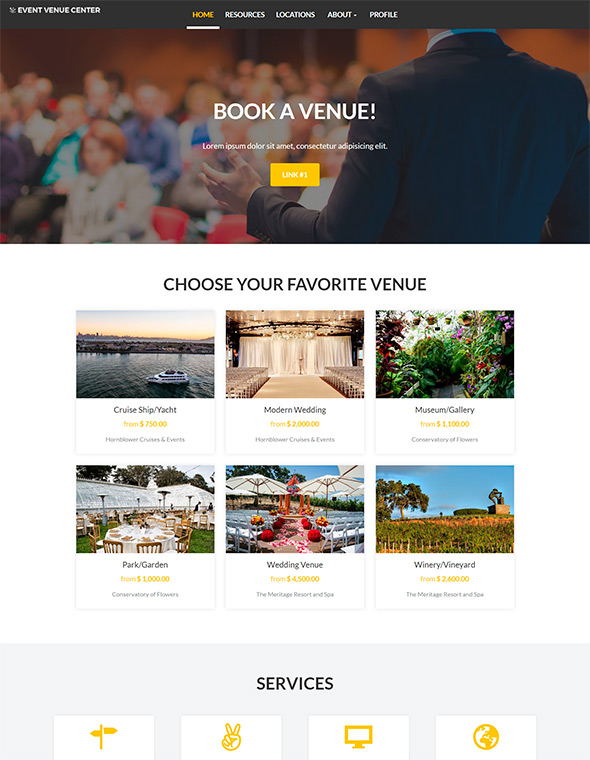 Venue Booking Website Template #7