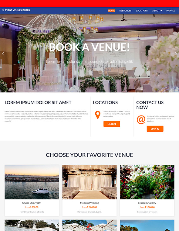 Venue Booking Website Template #8
