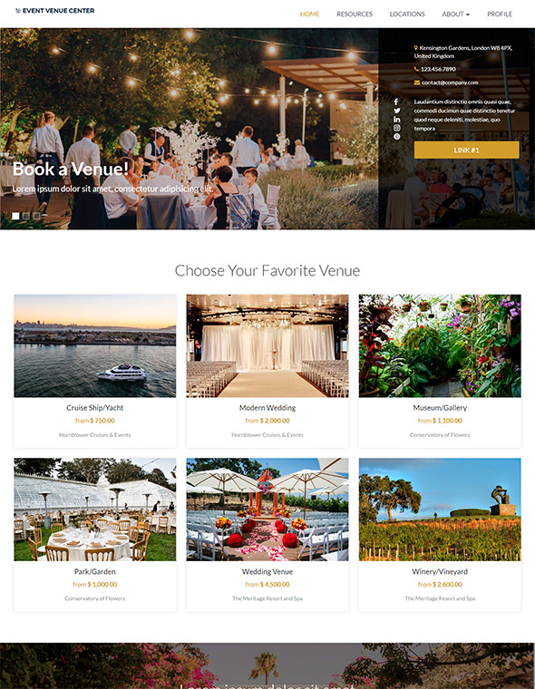 Venue Booking Website Template #9