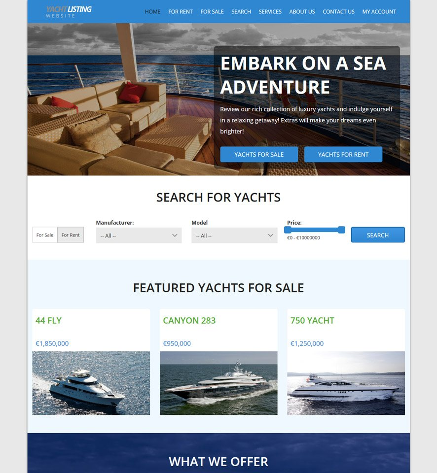 Yacht & Boat Website Template #2