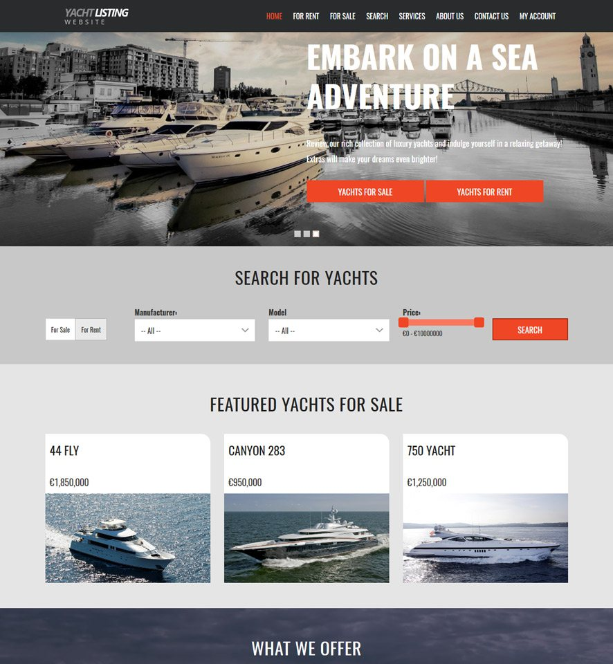 Yacht & Boat Website Template #3
