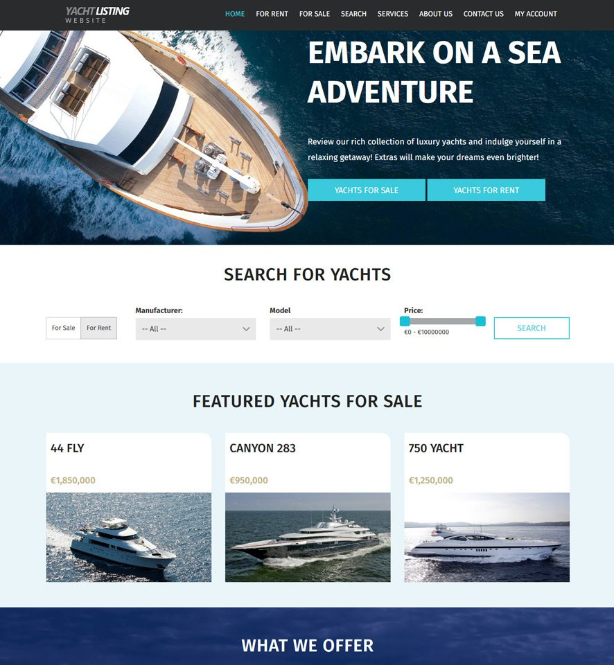 Yacht & Boat Website Website Design 1