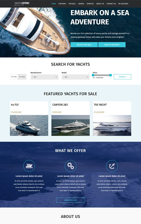 VEVS Yacht & Boat Websites 1