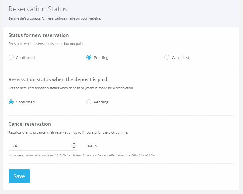 VEVS Car Rental Website - booking status flow settings