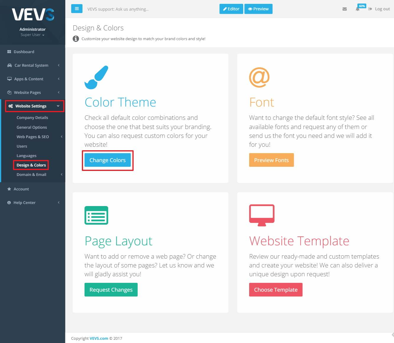 VEVS website change color theme