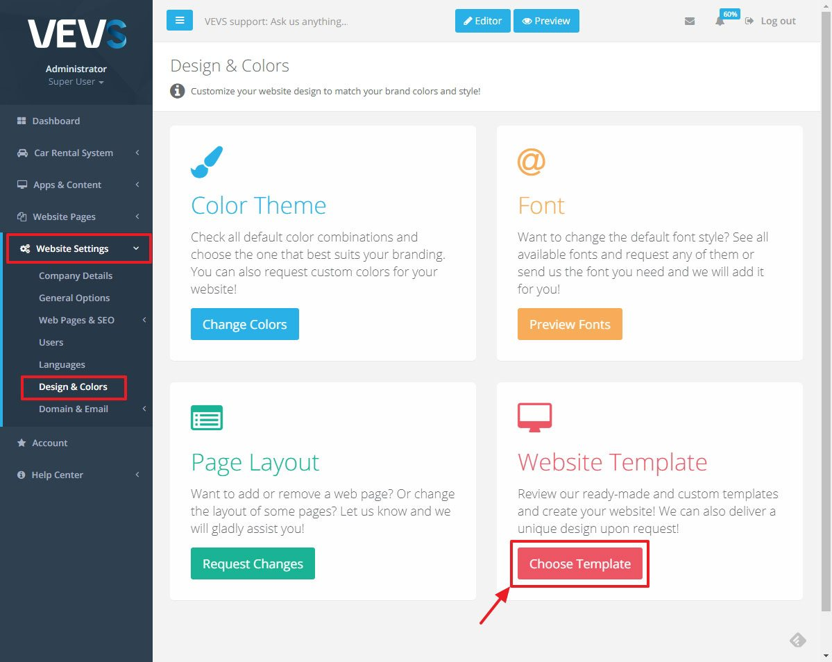 VEVS CMS Website template options