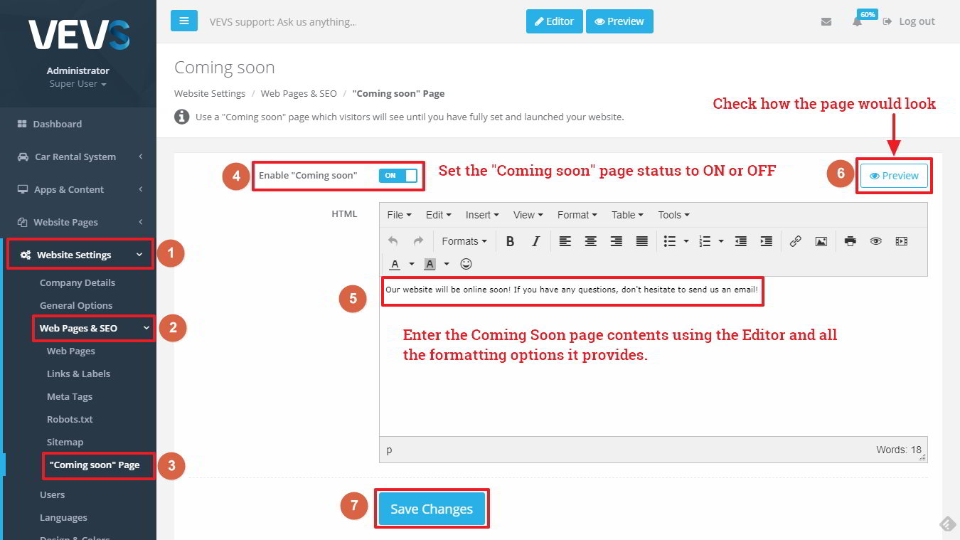 "VEVS CMS ""Coming soon"" page settings"