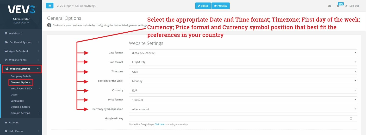 Date, Time and Currency format settings