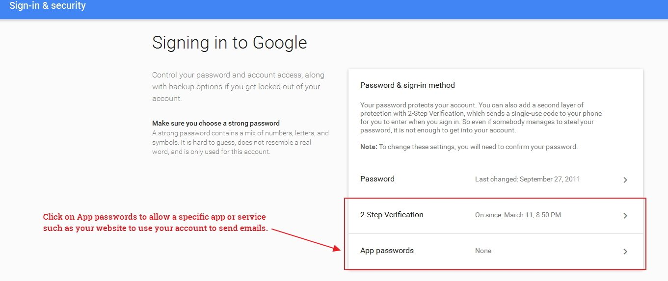 Gmail Security Settings - App Passwords
