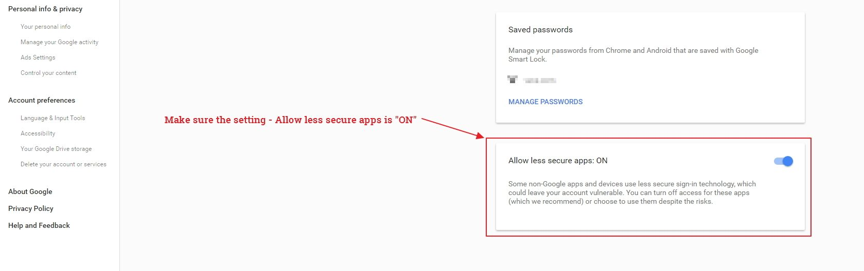 Gmail Security Settings - Allow less secure apps