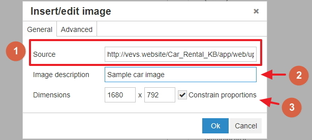 Insert image in the text area - settings