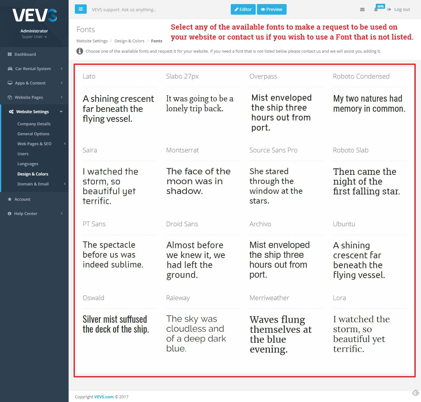 VEVS CMS Fonts settings page
