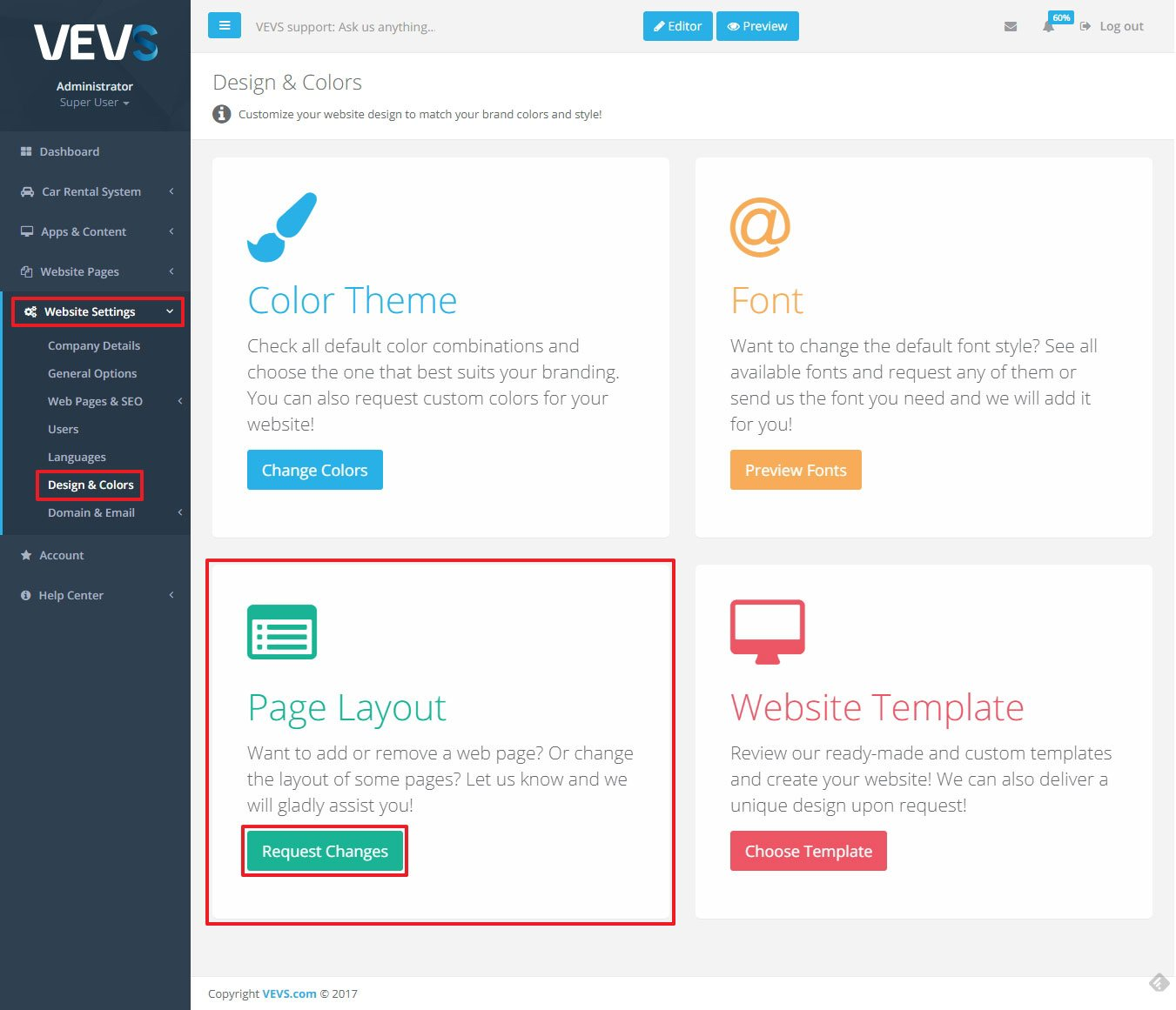 VEVS CMS Design & Color menu Change Page layout