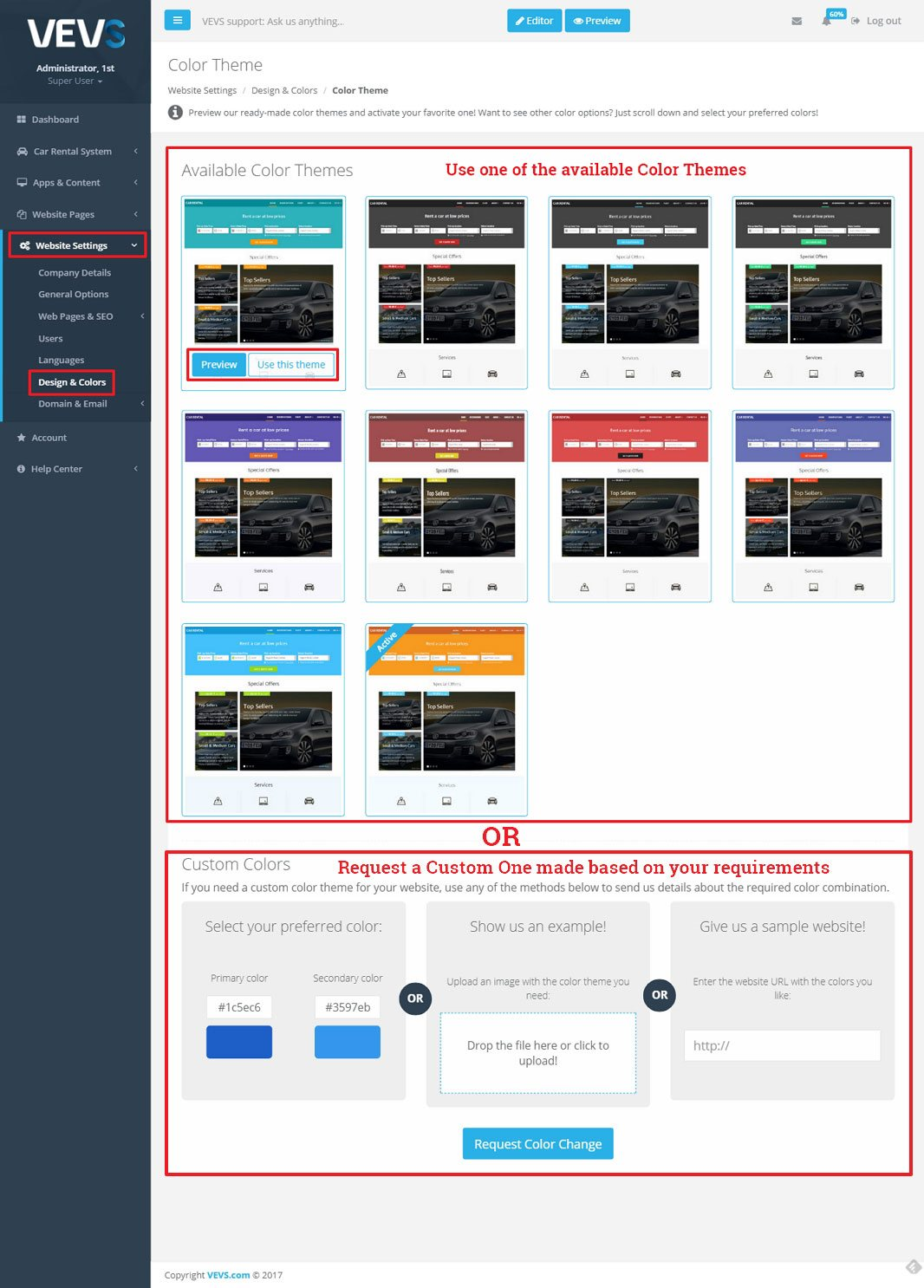 VEVS CMS Color Theme grid and request form