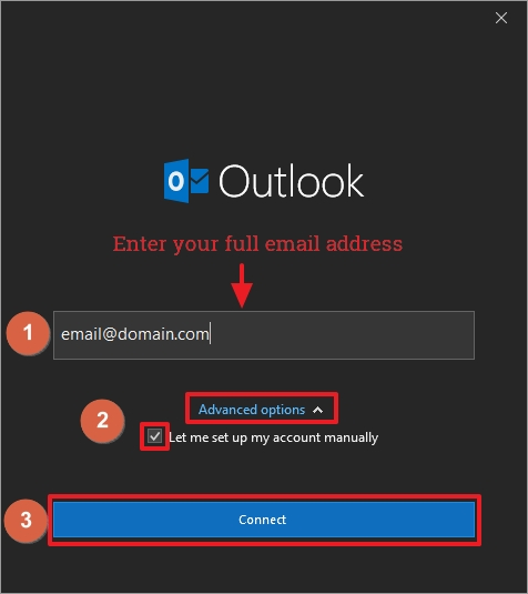 Email from VEVS - Outlook 2016 configuration - step 3