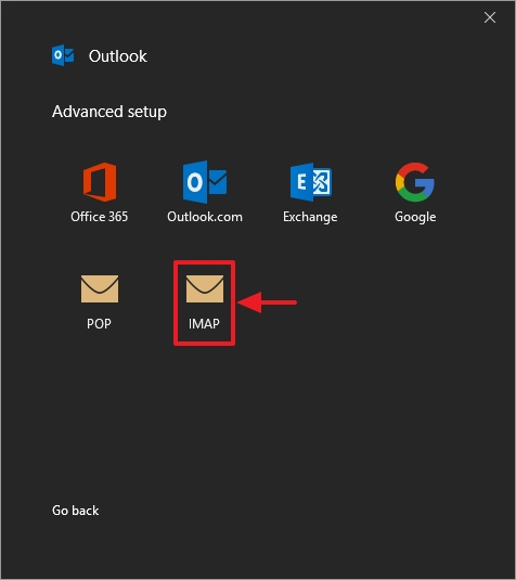 Email from VEVS - Outlook 2016 configuration - step 4