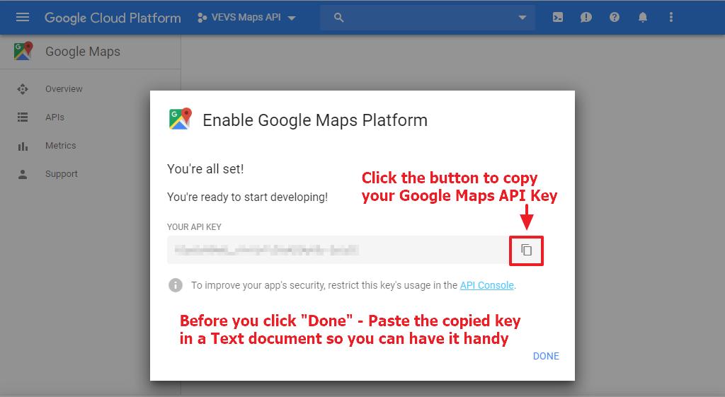 Google Maps - Copy API Key