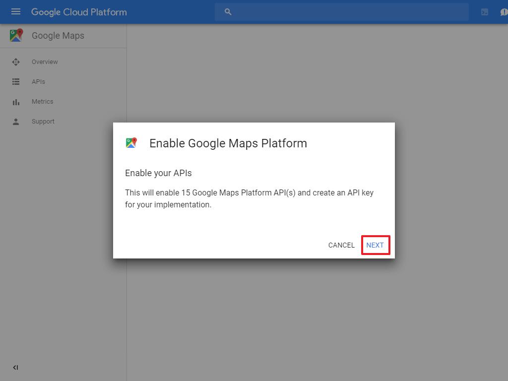 Google Maps Generate API Key