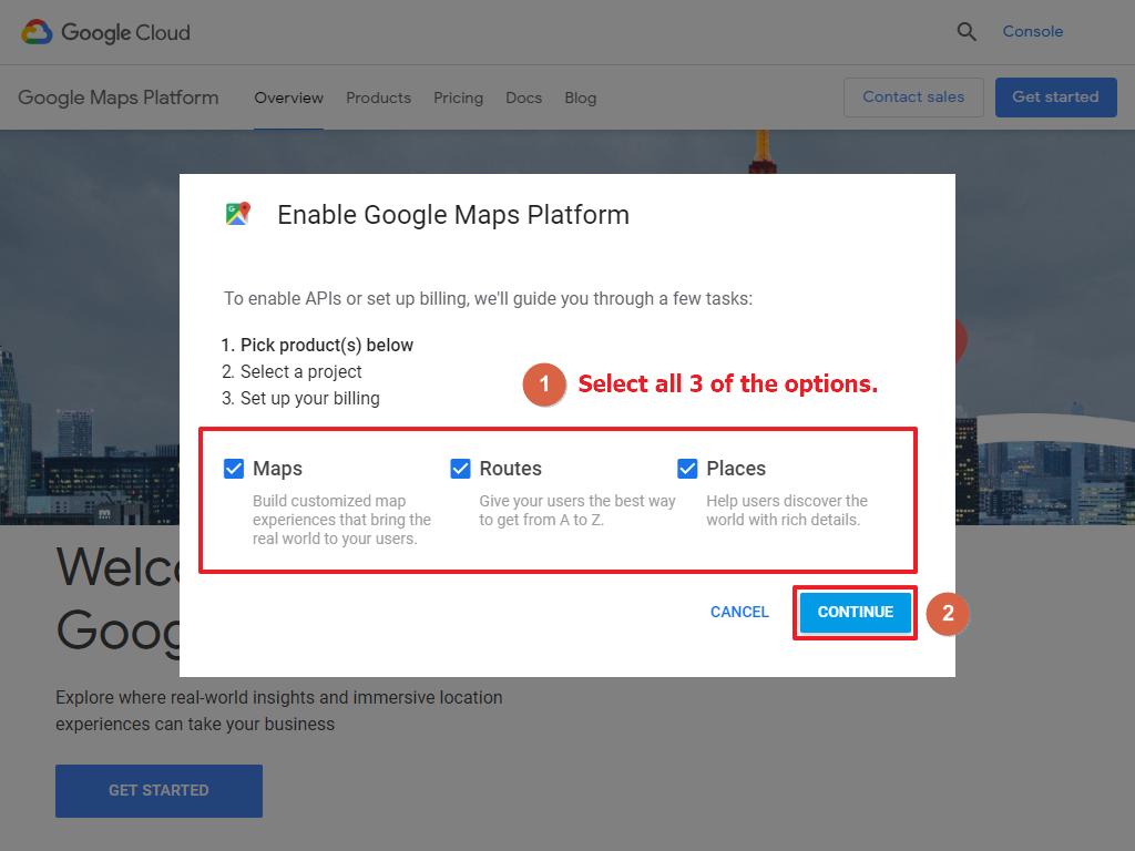 Google Maps Enable APIs
