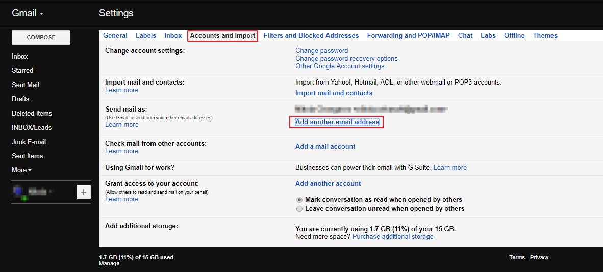 Gmail Accounts and Import