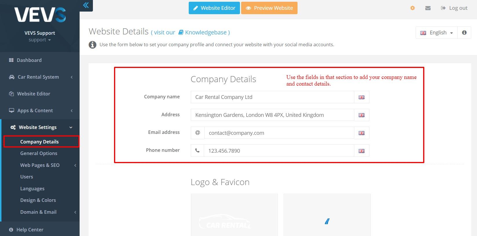 VEVS Website Builder - manage company details