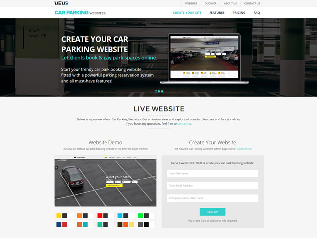 Create your Car Parking Website with VEVS
